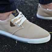 Мужские спортивные туфли кеды низкие Armani Армани бежевые кремовые беж