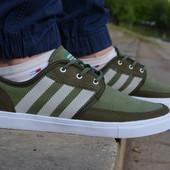 Мужские спортивные туфли кеды адидас adidas gazelle зеленые хаки