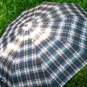 Качественный компактный мужской / женский зонт Автомат Антиветер клетка 10 спиц карбон
