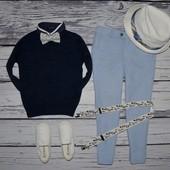 1 - 2 года 92 см обалденно стильный и эффектный свитер обманка джемпер мальчику Next некст