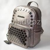 Молодежный модный женский рюкзак девочка серебристый 3335