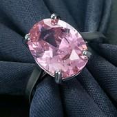 Шикарное кольцо с большим розовым кристалом, размер 16,5 мм (можно на 17 мм)