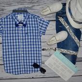 5 - 6 лет 116 см очень модная фирменная рубашка тенниска для мальчика клетка