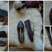 Крутые кожаные туфли с цепочкой, р-р 38