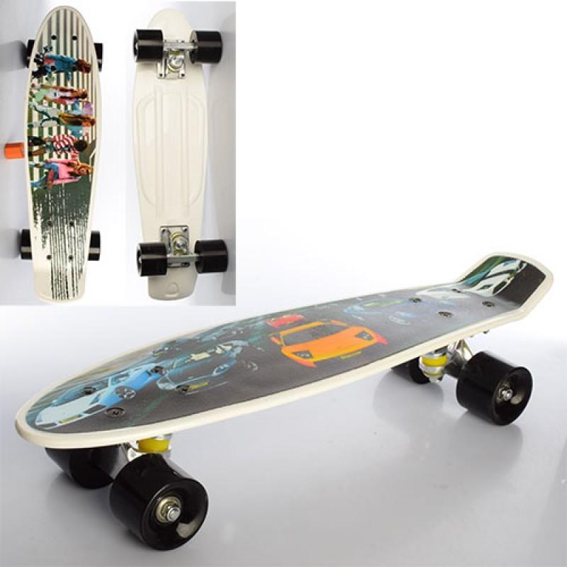 Скейт, пенни 56*14, 5см, алюм.подвеска, колеса пу, фото-принт, 2 вида,  ms0749 фото №1