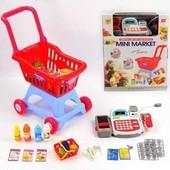 Детский набор Мини-маркет 2900F касса, тележка, звук, свет, продукты, на бат-ке, в кор-ке
