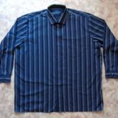 Мужская рубашка 60-62 темно-синяя полосатая