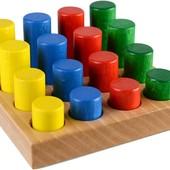 Деревянный сортер Монтессори Цветные цилиндры в коробке, Тато