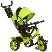 Трехколесный детский велосипед Turbo Trike m 3113-4 зеленый колеса EVA 3 положения спинки