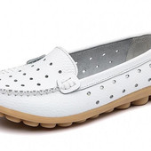 Туфли женские белые натуральная кожа Т592