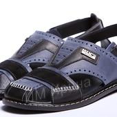 Босоножки мужские кожаные Kristan ST Blue-Black