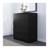 Комод с 4 ящиками черно-коричневый Мальм Malm Ikea Икеа 501.033.45 Вналичии