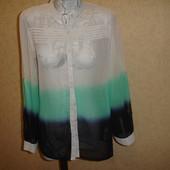 Фирменная трехцветная блузка на 46-48 размер шифон