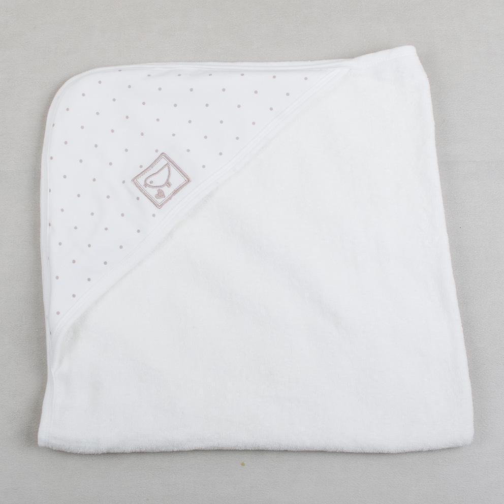 Детское полотенце, махровый уголок, полотенце для купания кремовое фото №1