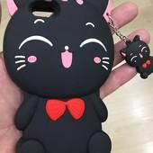 Чехол Киса для iPhone. Черный Качественный силикон