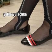 Балетки черные лаковые с красным и белым декором