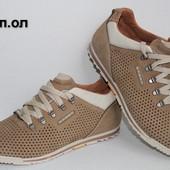 Кожаные туфли-кроссовки, перфорация К-1 S пн. песок