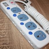 Универсальный сетевой фильтр! 12 входов, 5м кабель и безопасность техники от перепадов напряжения!