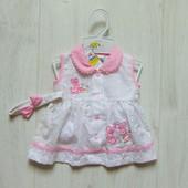 Новый комплект для маленькой принцессы: платье + повязка. Nursery time. Размер 3-6 месяцев