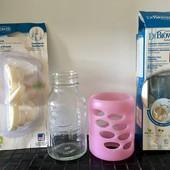 Набор:бутылочка Dr.Brown's стеклянная,пластиковая,силиконовый футляр,сменные вентеляционные вставки