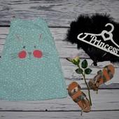 12 - 18 месяцев Очень нарядное романтичное платье сарафан принцессе с зайкой сердечки
