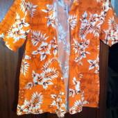 Оранжевая мужская рубашка. Размер L. Торг