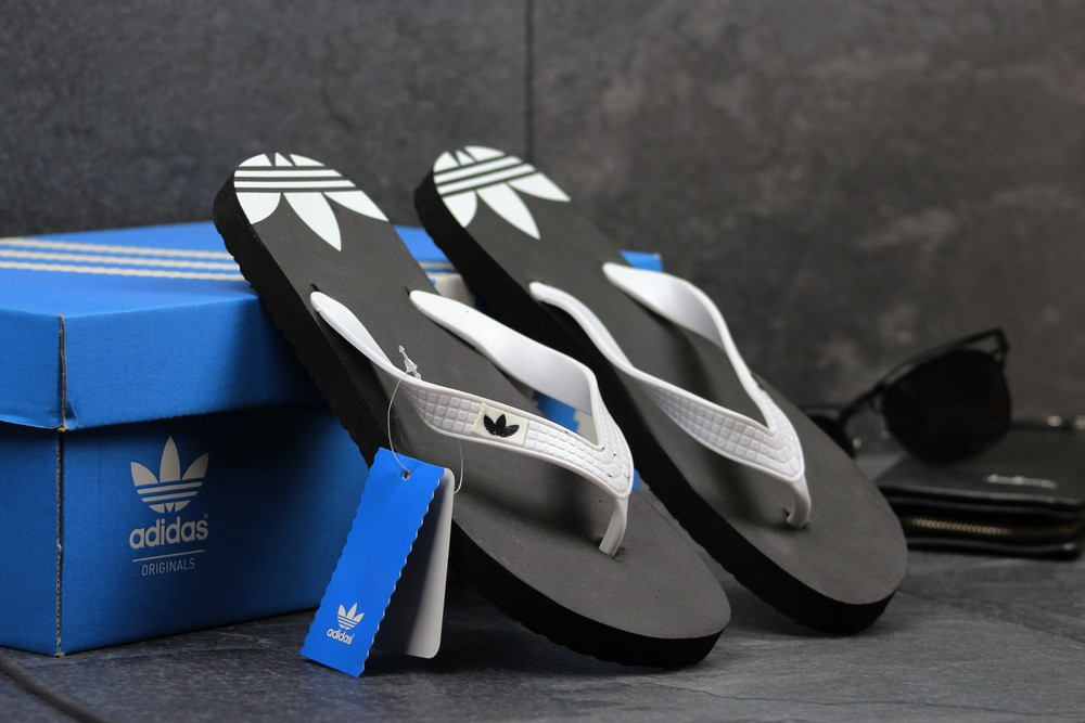 Вьетнамки мужские Adidas black white фото №1