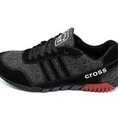 Кроссовки мужские Cross Fit 23 Textile черно-серые