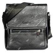 Мужская стильная сумка черного цвета через плечо (1603-1)