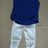 Фирменные белые джинсы с дырками майка в подарок!