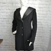 Пальто кашемировое с атласными вставками, р. M, Б/У