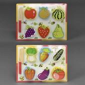 Деревянная досточка пазлы с разрезными овощами фруктами и ножом 0448