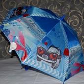 Детский зонт трость с красивыми и яркими изображением Машинка машина авто