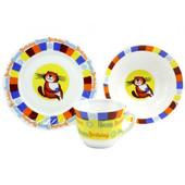 Детский набор посуды из стеклокерамики с котиком ,3 предмета