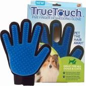 Перчатка щетка фурминатор Тру Тач True Touch для вычесывания шерсти животным