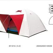 Палатка туристическая трехместная с тентом и тамбуром Shengyuan 014: 2х2х1,35 м
