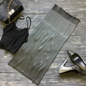 Серебряная юбка-плиссе р-р М