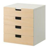 Комбинация для хранения с ящиками, белый, береза, 60x50x64 см ikea икеа 790.289.06