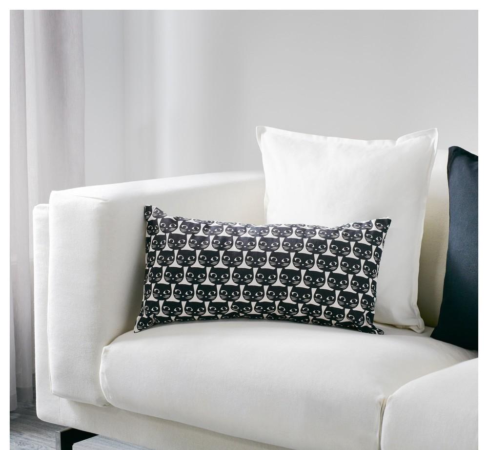 Подушка, белый, черный, 30x60 см 503.200.23 маттрам mattram ikea икеа в наличии! фото №1