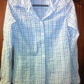 Женская голубая рубашка в клетку, 44. Торг