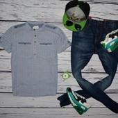 9 - 10 лет 134 - 140 см очень модная фирменная рубашка тенниска для мальчика полоска