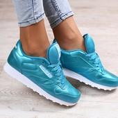 Женские кроссовки, кожаные, цвета ультрамарин