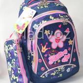 Школьный рюкзак для девочки с пеналом ромашка синий 3407