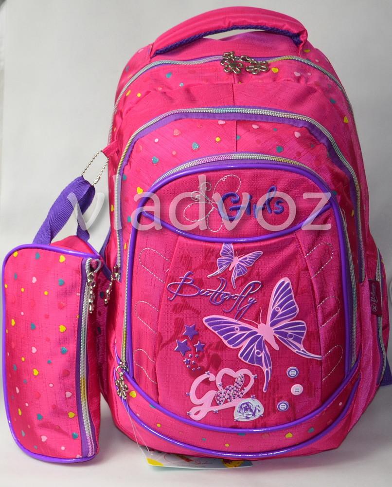 Школьный рюкзак для девочки с пеналом Butterfly бабочка малиновый 3399 фото №1
