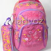 Школьный рюкзак для девочки с пеналом Fashion малиновый 3403