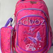 Школьный рюкзак для девочки с пеналом Butterfly бабочка малиновый 3399