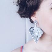 серьги алмазы  бриллианты, диаманты