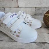 Распродажа белые кроссовки в горошек 33-34 р
