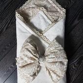 Благородное одеяло-конверт на выписку для новорожденного Дамаск