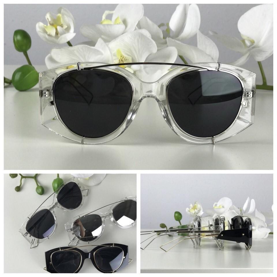 Ультрамодные очки-авиаторы с прозрачной оправой-оверсайз (черная линза) фото №1